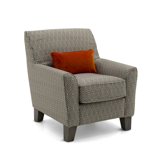Carmela Fabric Accent Chair In Graphite With Wooden Legs