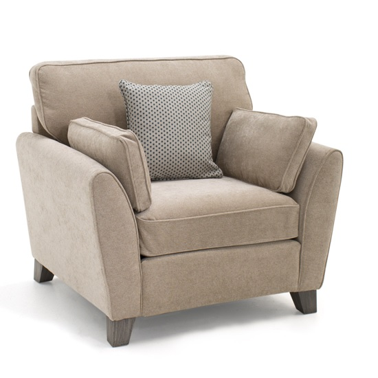 Image of Carmela Fabric Sofa Chair In Almond With Wooden Legs