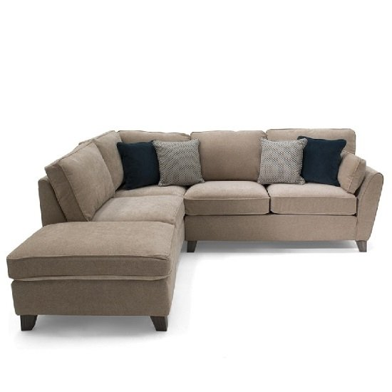 Carmela Fabric Left Corner Sofa In Almond With Wooden Legs