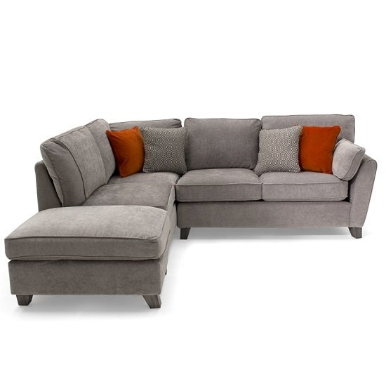 Image of Carmela Fabric Left Corner Sofa In Silver With Wooden Legs