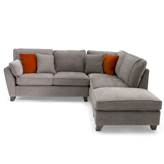 Carmela Fabric Right Corner Sofa In Silver With Wooden Legs