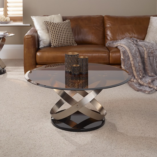 Carmela Glass Coffee Table In Smoke With Satin And Nickel Base