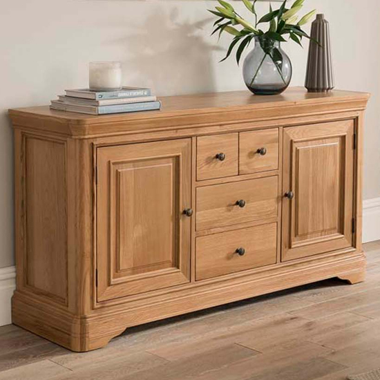 Carmen Large Wooden Sideboard In Natural With 2 Doors 4 Drawers