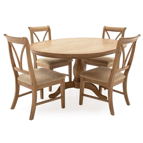 Carmen Oval Wooden Fixed Dining Set In Natural With 4 Chairs