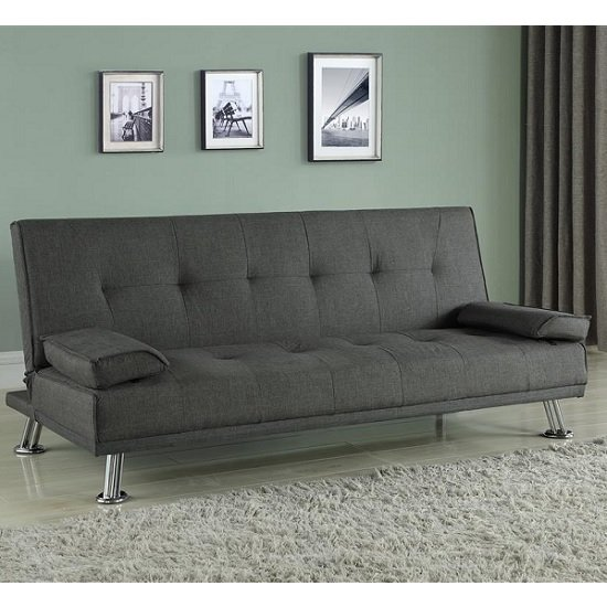 Carmen Fabric Sofa Bed In Grey With Chrome Legs
