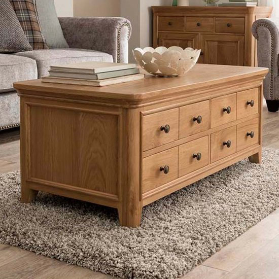 Carmen Wooden Coffee Table In Natural With 8 Drawers_1