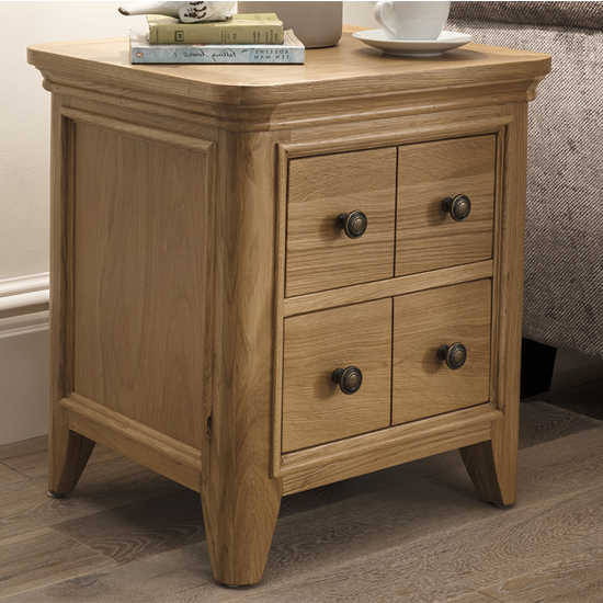Carmen Wooden End Table In Natural With 1 Drawer