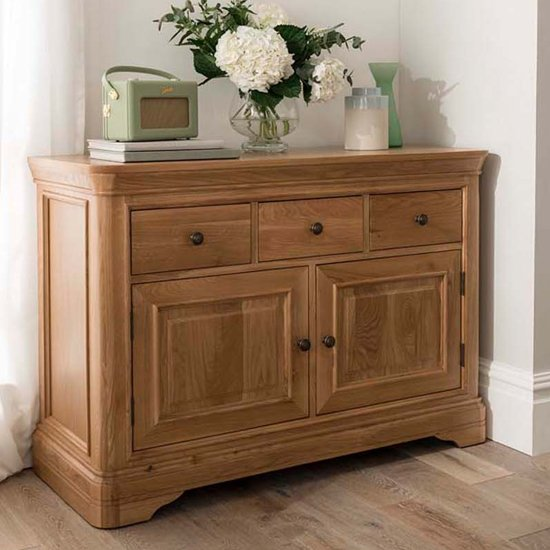 Carmen Wooden Sideboard In Natural With 2 Doors And 3 Drawers_1