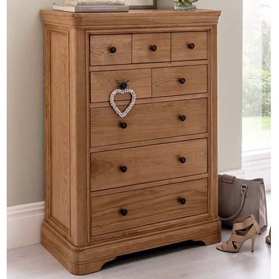 Carmen Wooden Tall Chest Of Drawers In Natural With 8