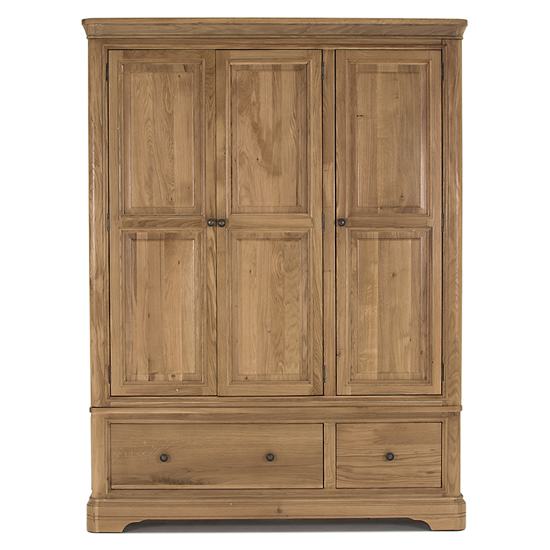 Carmen Wooden Wardrobe In Natural With 3 Doors And 2 Drawer