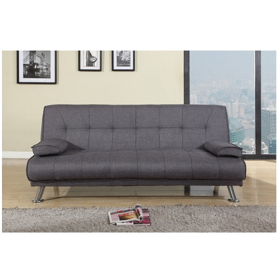 Carmen Sofa Bed In Grey Fabric With Chrome Legs