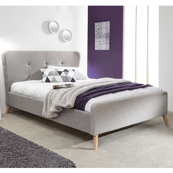 Carnaby Fabric Wing Double Bed In Light Grey