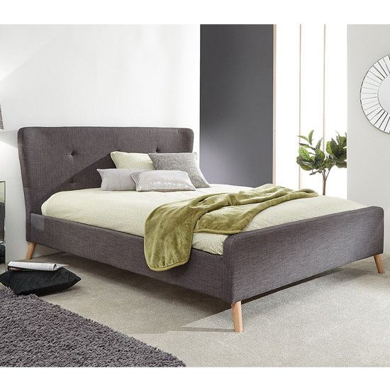 Carnaby Fabric Wing King Size Bed In Grey