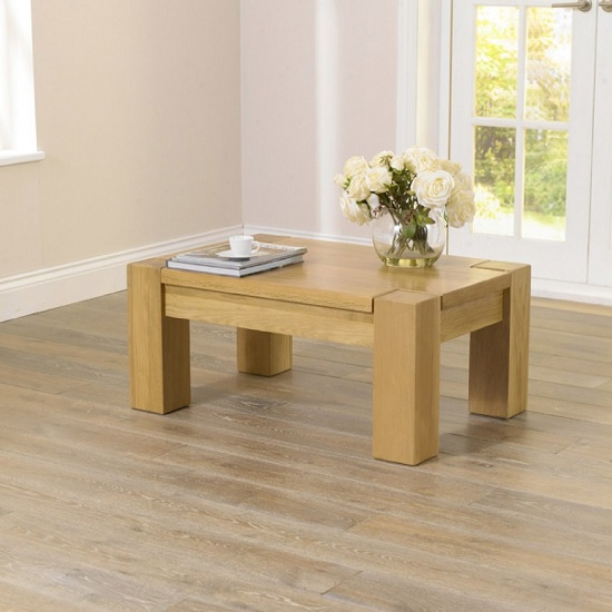 Carnell Wooden Coffee Table Rectangular In Solid Oak