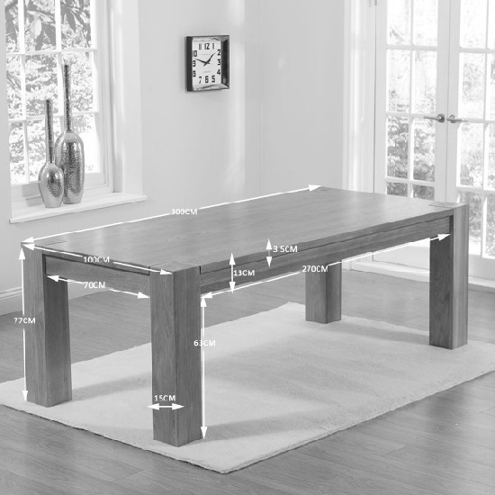 Carnell Wooden Extra Large Dining Table Rectangular In Solid Oak_3
