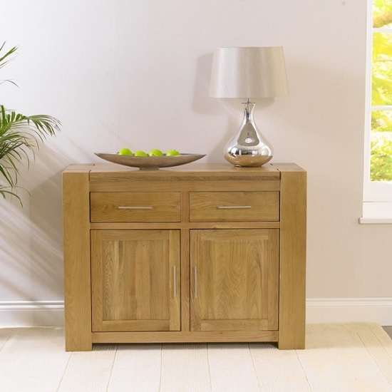 Carnell Wooden Sideboard In Solid Oak With 2 Doors And 2 Drawers