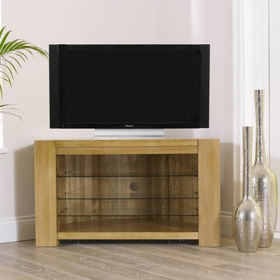 Carnell Wooden Corner TV Stand In Solid Oak With Glass Shelves