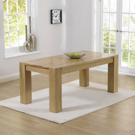 Carnell Wooden Large Dining Table Rectangular In Solid Oak