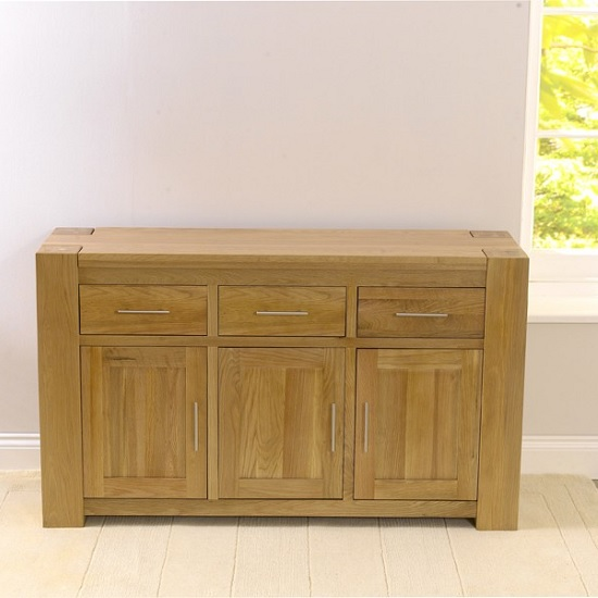 Carnell Wooden Sideboard In Solid Oak With 3 Doors