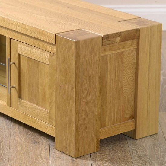... Carnell Wooden TV Stand Rectangular In Solid Oak With 2 Doors_3 ...