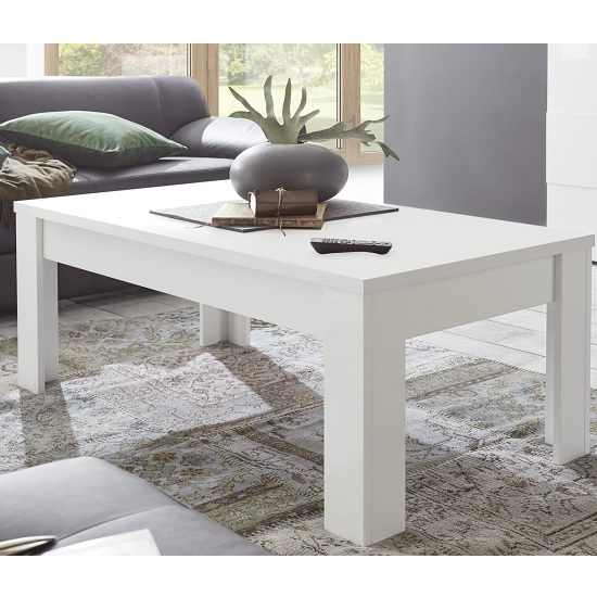 Carney Contemporary Coffee Table Rectangular In Matt White