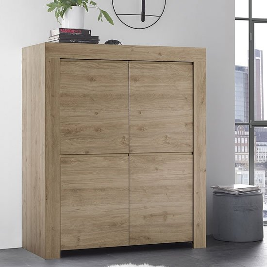 View Carney contemporary highboard in cadiz oak with 4 doors