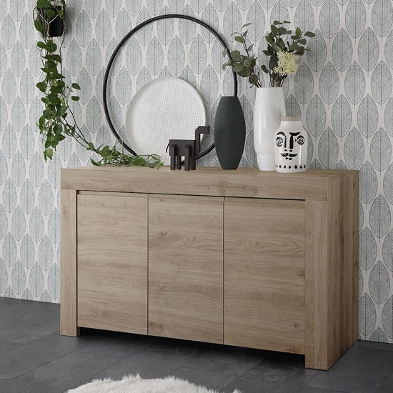 Carney Contemporary Sideboard In Cadiz Oak With 3 Doors