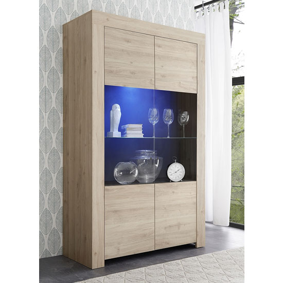 Carney Display Cabinet In Cadiz Oak With 2 Doors And LED