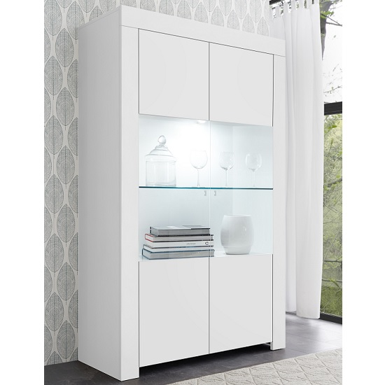 Carney Display Cabinet In Matt White With 2 Doors And LED