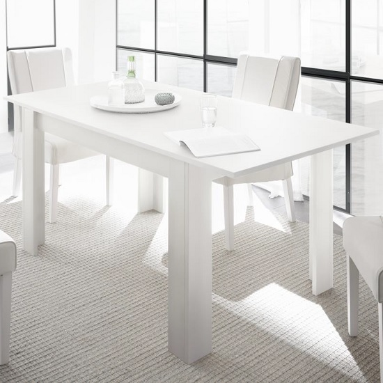 View Carney contemporary extendable dining table in matt white