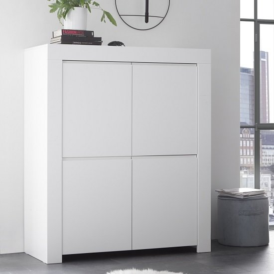 Carney Contemporary Highboard In Matt White With 4 Doors