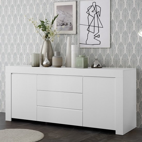 Carney Sideboard In Matt White With 2 Doors And 3 Drawers