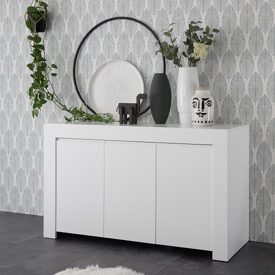 Carney Contemporary Sideboard In Matt White With 3 Doors