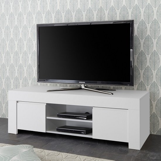 Carney Contemporary TV Stand In Matt White With 2 Doors