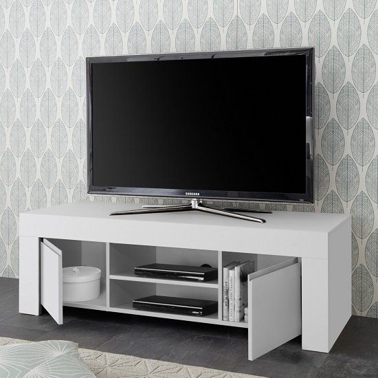 Carney Contemporary TV Stand In Matt White With 2 Doors_2