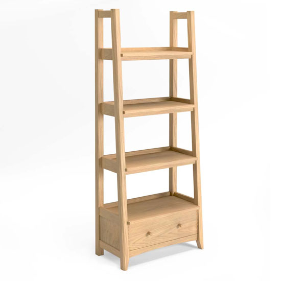 Carnial Wooden Ladder Display Unit In Blond Solid Oak
