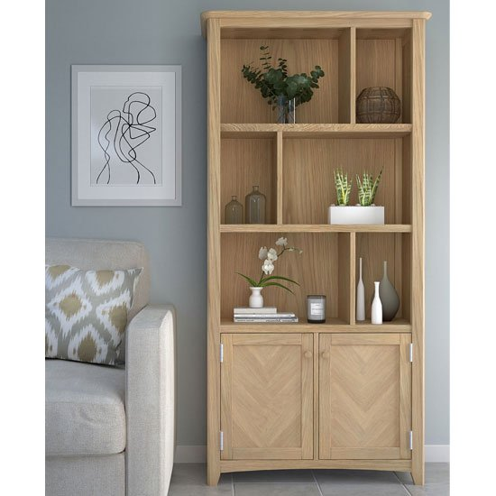 Carnial Wooden Large Multi Display Bookcase In Blond Solid Oak