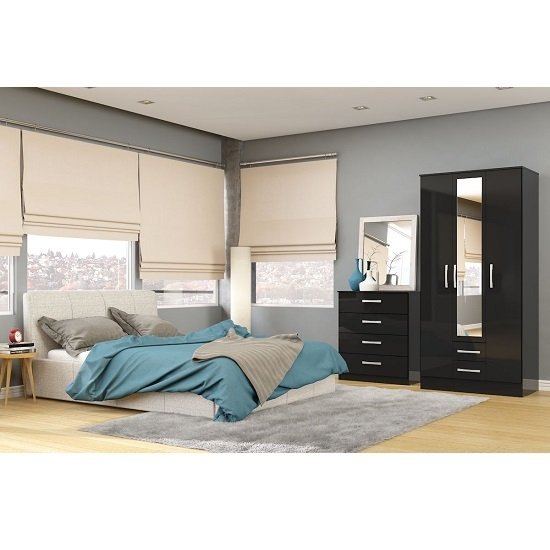 Carola Mirrored Wardrobe In Black High Gloss With 3 Doors_4