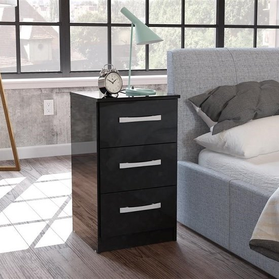 Carola Bedside Cabinet In Black High Gloss With 3 Drawers