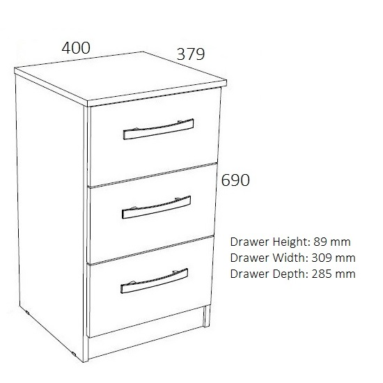 Carola Bedside Cabinet In White High Gloss With 3 Drawers_2