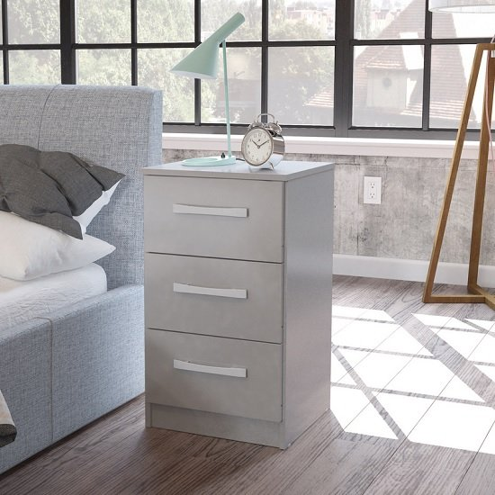 Carola Bedside Cabinet In Grey High Gloss With 3 Drawers