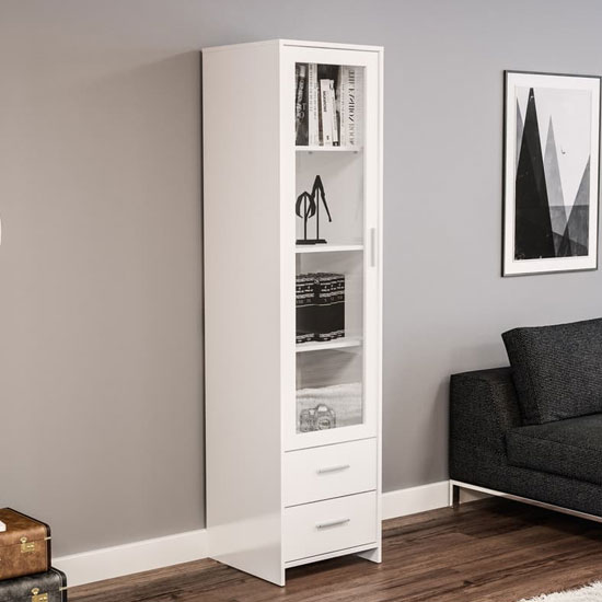 Product photograph showing Carola Bookcase In White High Gloss With Glass Door