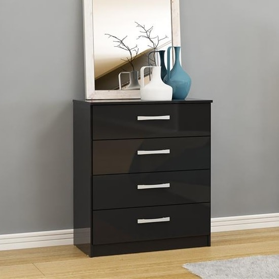 Product photograph showing Carola Chest Of Drawers In Black High Gloss With 4 Drawers
