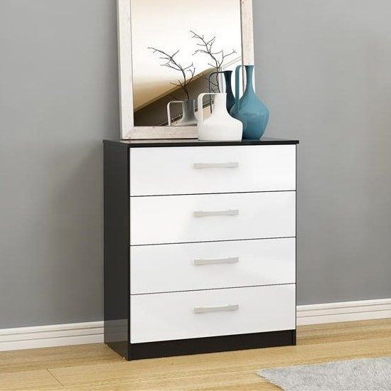 Carola Chest Of Drawers In Black White High Gloss And 4 Drawers