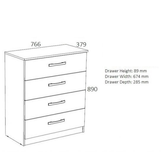 Carola Chest Of Drawers In Walnut Black High Gloss 4 Drawers_2