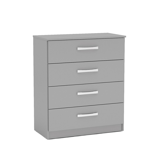 Carola Chest Of Drawers In Grey High Gloss With 4 Drawers_1