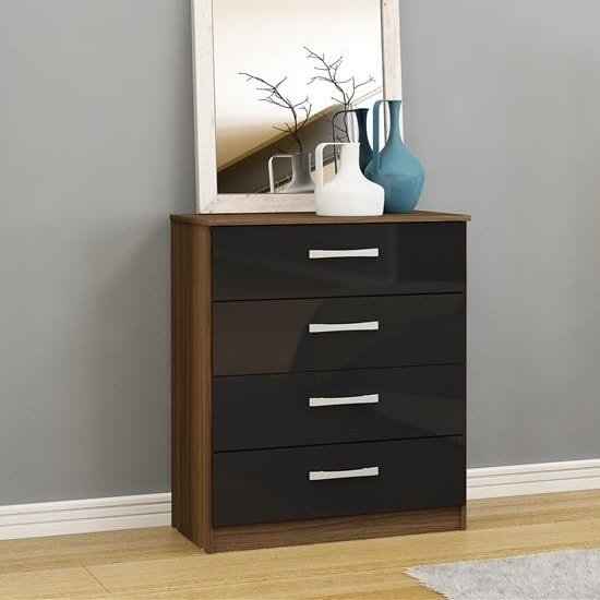 Product photograph showing Carola Chest Of Drawers In Walnut Black High Gloss 4 Drawers