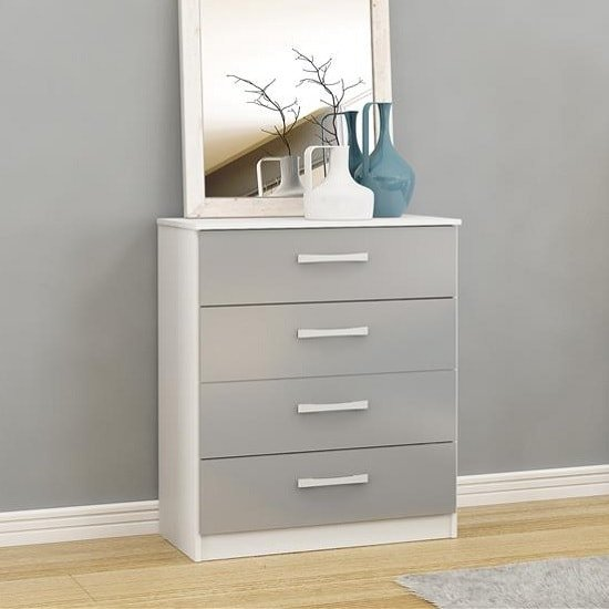 Carola Chest Of Drawers In White Grey High Gloss With 4 Drawers