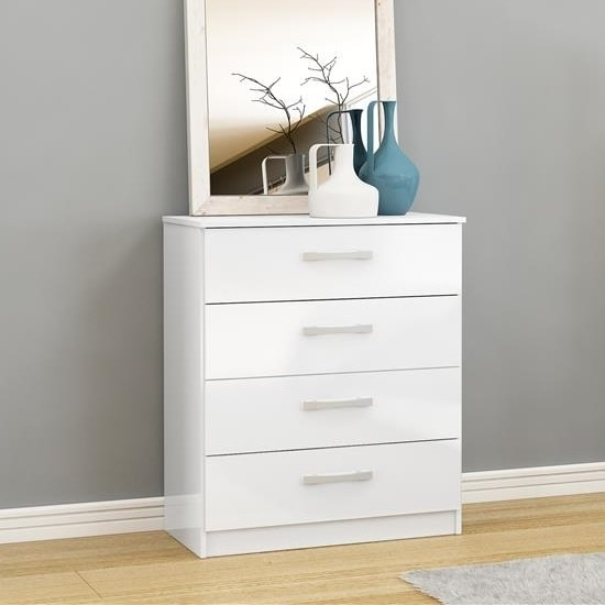 Carola Chest Of Drawers In White High Gloss With 4 Drawers