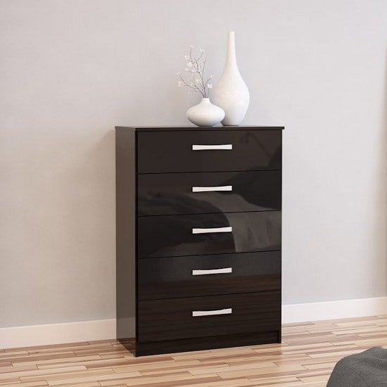 Carola Chest Of Drawers In Black High Gloss With 5 Drawers